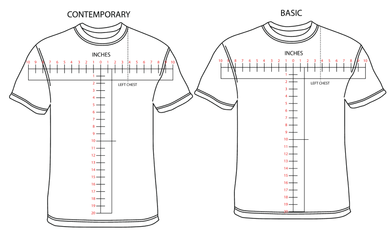 Contemporary vs. basic tshirt fit guide