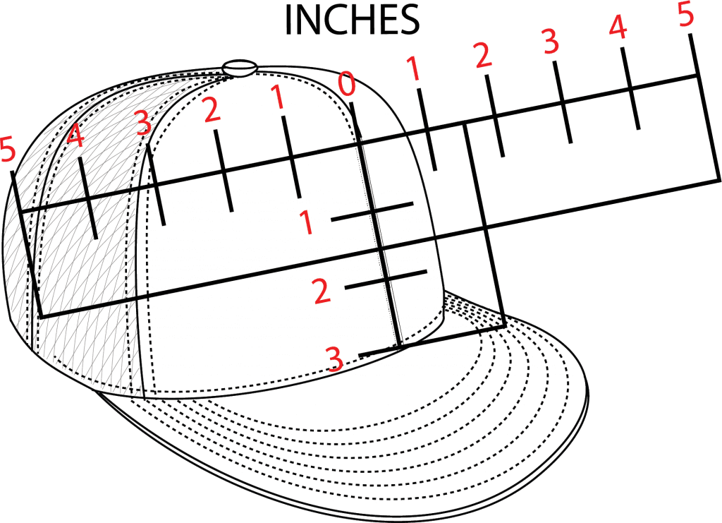 Illustration of a hat and the way to to measure print space