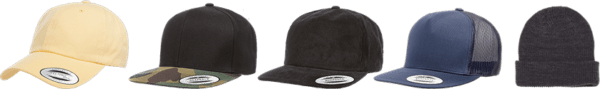 Line of hats differing in shapes and colors