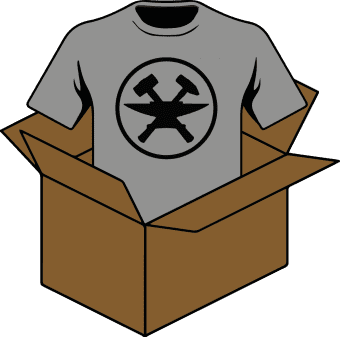 Cartoon of a t-shirt coming out of a box