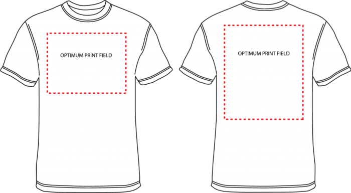 Illustration of the front and back of a tshirt and the optimum print field