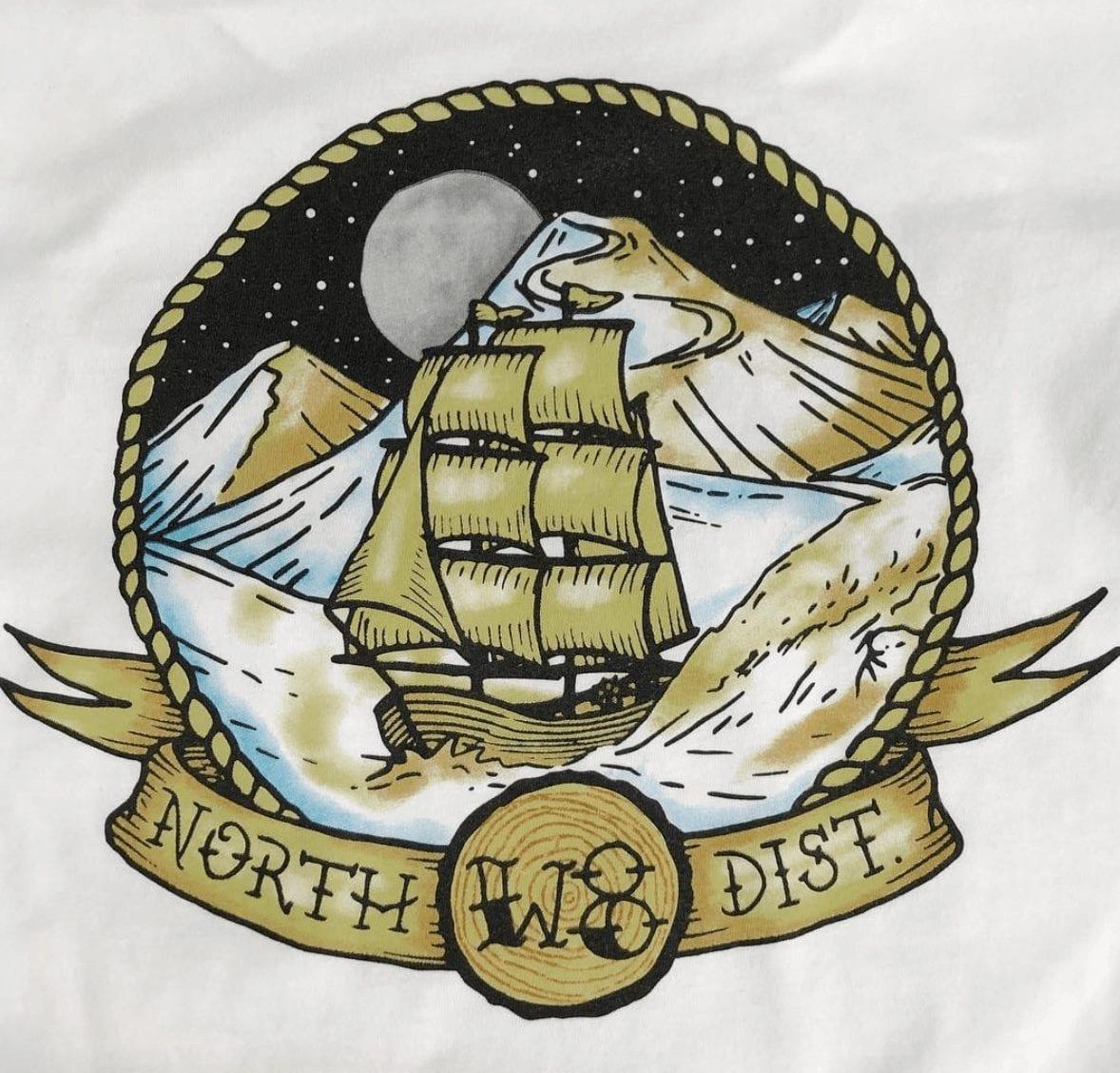 Custom printed pirate shirts.