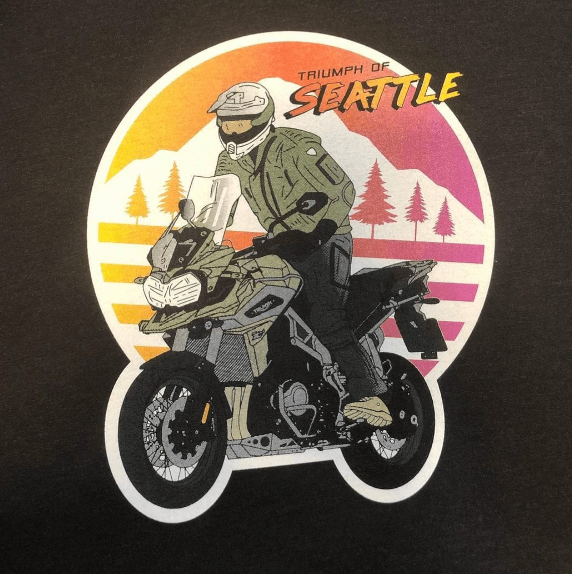 Custom printed shirts for moto shop.