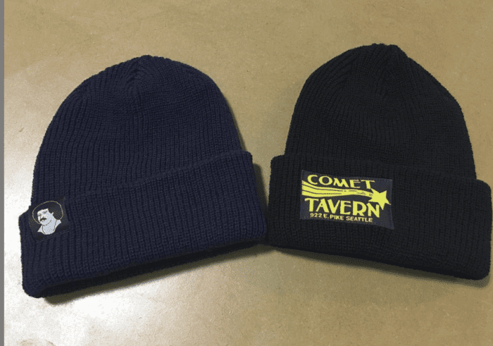 Labels sewn to beanies
